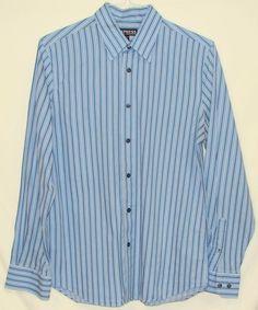 Express Modern Fit Stretch Cotton Mens Striped Long Sleeve Button Down Shirt M #Express #ButtonFront