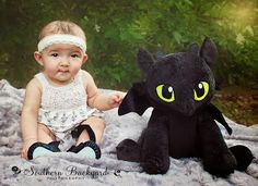 toothless is her favorite. 6 month photos