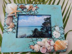 Blue Green Seashell Photo Frame - Shell Picture Frame - Beach Decor - Nautical Decor