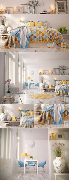White Bed Room Design view.
