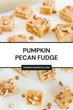 Made with pumpkin puree and pumpkin pie spice, this Pumpkin Pecan Fudge takes a classic fudge recipe to a whole new level! A perfect addition to the dessert table this fall! #fallbaking #fall #pumpkin #pecan #fudge #pumpkinfudge #thanksgiving #easyrecipes