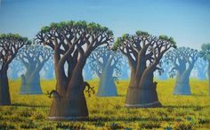 A field of baobabs.
