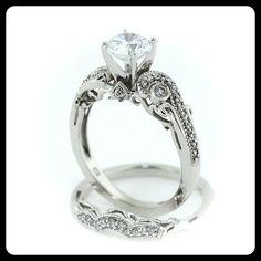 Moissanite Wedding Set  Engagement Ring and Wedding Band Diamond Side Stones 14k Gold - Ring Name : Seeds of Love on Etsy, $1,880.00