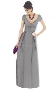 Silver+Taffeta+Princess+V-neck+Floor-length+Bridesmaid+Dresses(NZBD06216)