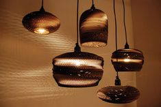 SCRAP LIGHTS Made from Twice Recycled Cardboard by Seattle's Graypants Inc.