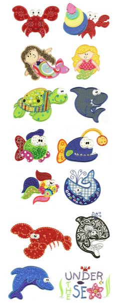 Under the Sea fun with these 14 ocean themed machine applique designs including crabs, mermaids, fish, lobster, shark, dolphin, whales and more!