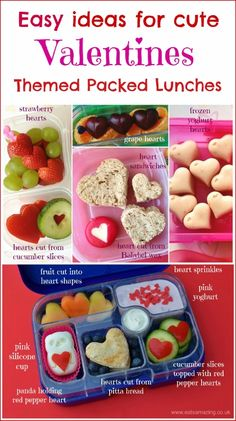 Healthy Heart Themed Food - loads of easy Valentines packed lunch ideas for kids from Eats Amazing UK
