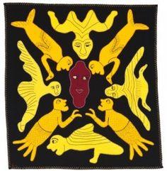 Irene Avaalaaqiaq, Human Love, wool duffle and felt, cotton embroidery thread. Inuit Art, Indigenous Art, Embroidery Thread, Needlework, Felt, Tapestry, Wool, Quilts, Irene