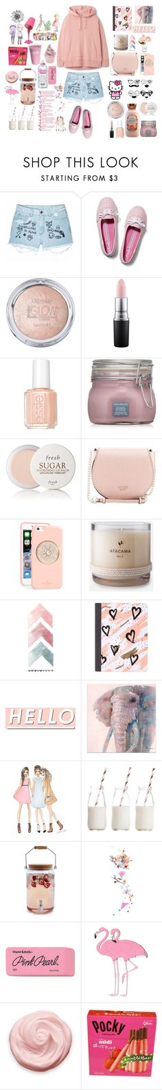 """""""A Pink Mix"""" by christinemusal ❤ liked on Polyvore featuring Aloha From Deer, Keds, Hello Kitty, MAC Cosmetics, Essie, Fresh, GUESS, Kate Spade, Mead and Chanel"""