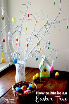 An Easter tree makes wonderful spring home decor or the perfect centerpiece for your Easter table. It is also a great addition to a spring nature table. DIY Easter Kids Easter Craft Easter Decoration Spring Home Decor Easter Activities, Easter Crafts For Kids, Easter Ideas, Easter Table, Easter Eggs, Spring Crafts, Holiday Crafts, Spring Nature Table, Easter Tree Decorations