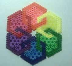 Hex | by queenbee1977 - A hexagon of hexagons, done in melty beads. Cool.