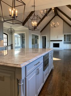 New living room lighting ceiling interior design beams Ideas Living Room Flooring, Living Room Kitchen, Kitchen Grey, Granite Kitchen, Marble Countertops, Kitchen Island, Dining Room, Dream Home Design, My Dream Home