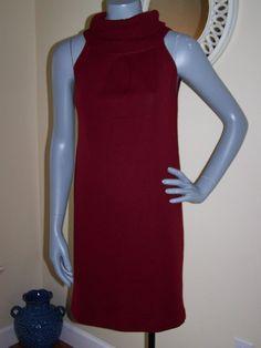 Piazza SEMPIONE Maroon Burgundy Wool Blend Cowl Neck Sweater Dress Size 0 XS 2 | eBay