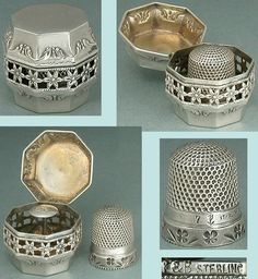 Unusual Antique Sterling Silver Chatelaine Thimble Case & Thimble * Circa 1890s