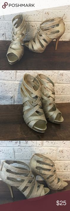 989213f55d9d34 GUESS gold strappy heels GUESS gold strappy heels. I am open to reasonable  offers!