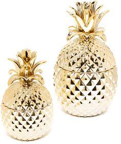 Gift Boutique Golden Hospitality Set of 2 Pineapple Jars