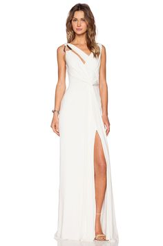 (Front View) Halston Heritage Draped Cowl Back Gown in Bone | REVOLVE