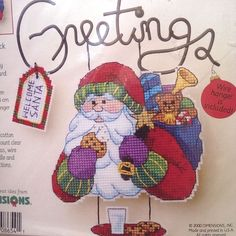 Santa's Snack Greetings Counted Cross Stitch Kit 8654 Dimensions Wire Welcome  #Dimensions #ChristmasHangerOrnamentDecor