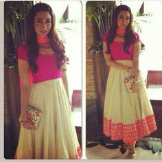 PPUS Karishma Kapoor pink ivory orange anarkali