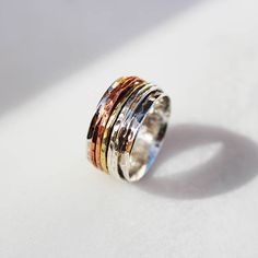 5 bands Spinner RingSterling silver 12mm ringAll Sterling