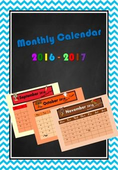 This cute, printable monthly calendar (September 2016-August 2017) is useful whether you are a teacher or a parent. As a teacher you can keep it at your desk to plan your work, gift it to your students to check upcoming holidays or simply use it to decorate your classroom.Enjoy!