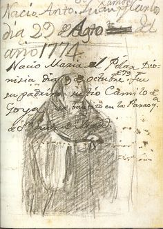 Goya records the birth of his children in his Italian sketchbook from the 1770s, and baptisms with a sketch of the priest who officiates. Charcoal, sanguine and ink. Artist: Francisco Goya.