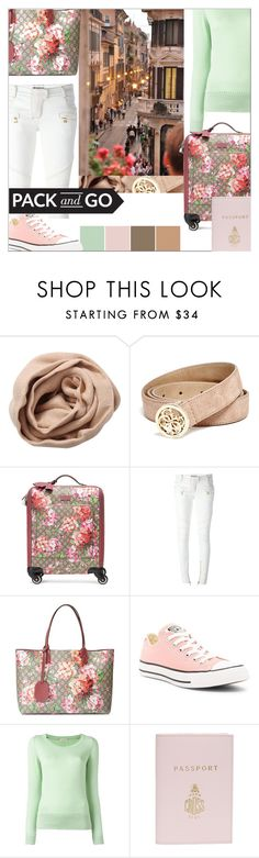 """""""Pack and Go: Winter Getaway"""" by slavulienka ❤ liked on Polyvore featuring Brunello Cucinelli, GUESS, Gucci, Balmain, Converse, Etro, Mark Cross and Packandgo"""