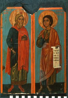 """Aaron and Moses,"" The Sinai Icon Collection Byzantine Icons, Byzantine Art, Constantine The Great, Paint Icon, Russian Icons, Religious Images, Icon Collection, Christian Art, Roman Empire"
