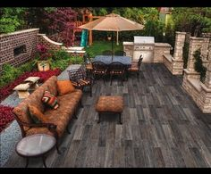 "Creative Juices Decor: Fun Tile Trends - Tile That Looks Like Wood!  This is OUTDOOR TILES that looks like wood. ""Timber Tiles"" This would sure last a long time - no worries about rain or bugs eating this ""wood"" Pretty porch with a rustic feel Love the orange and burgundy with the green grass"