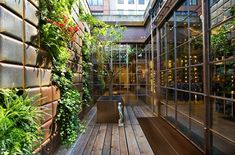 Love the glass, the vertical garden, the wood, the urban setting. This is a retail space, but I dream about a living room like this.
