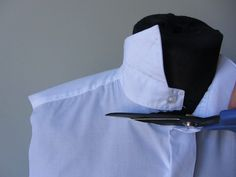 This upcycled dress shirt is a fantastic idea. You can take any unused dress shirt and necktie and create a fabulous new tank top. Shirt Dress Pattern, Dress Shirt, Men Dress, Recycled Dress, Sewing Clothes Women, Sewing Shirts, Diy Kleidung, Old Shirts, Shirt Refashion