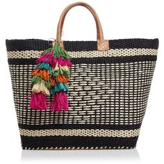mar Y sol Ibiza Tote (€130) ❤ liked on Polyvore featuring bags, handbags, tote bags, black multi, raffia beach tote, shopping bag, colorful purses, woven tote and raffia tote
