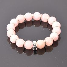 Charm Bracelets -- 10mm Natural Rose Quartz 925 Silver Bracelets TS XB046-9(China (Mainland))