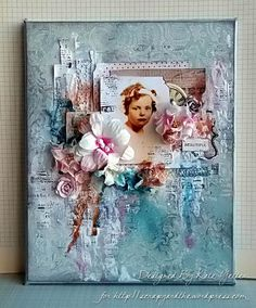 Mixed Media Canvas using an old family photo by Kate's Scrap Yard