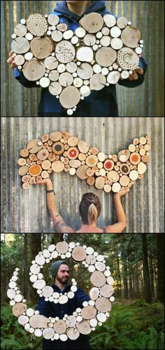 Wall sculptures made from reclaimed wood No trees were harmed in the making of these beautiful works of art! :) Ben and Nicole Labonte of Oregon based Wild Slice Designs search for dead and discarded tree limbs to create these wonderful wall sculptures. Diy Wall Art, Wood Wall Art, Garden Wall Art, Tree Wall Art, Unique Wall Art, Wooden Art, Diy Wanddekorationen, Mur Diy, Wood Crafts