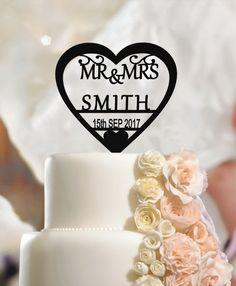 Personalized Wedding Cake Topper Mr & Mrs, Custom Name Heart, Surname, Date