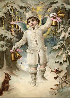 Victorian boy, angel, cherub ~ ringing gold bells in snowy woods. Image from a…