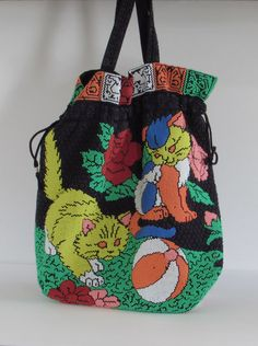 Very Unique Beaded Purse with Playful Pussycats - Vintage 1950s Wearable Art - Handbag - Clutch - Tote - Colorful Exotic Clothing Accessory