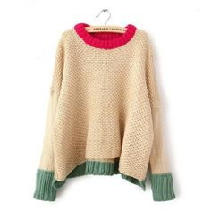 Image of [grxjy560581]Leisure Chic Stylish Mixing Color High-low Irregular Knit Sweater