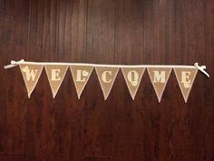 WELCOME natural burlap banner with glittery by GramsCozyCorner