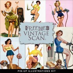 Far Far Hill - Free database of digital illustrations and papers: Freebies Pin-Up Illustrations Kit
