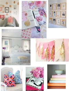 White, Pink, Gold Bedroom:: Inspiration Board