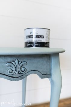 Perfectly Imperfect | Oak Side Table Makeover | Chalk Paint Wax in Black