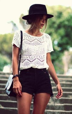 Look festival cool in a white crochet top and black cut-off shorts. Check out the website for 2014 Fashion Trends, 2014 Trends, Latest Trends, Fashion Ideas, Fashion Images, Fashion Advice, Fashion Mode, Look Fashion, Street Fashion