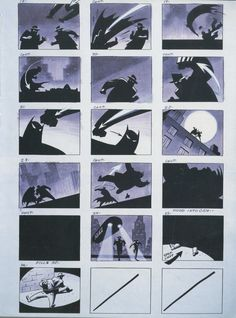 "Batman the Animated Series Opening Scene Storyboard ""Comics are great for translating ideas to image with rhythm and dynamic"" KB"