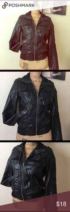 BLACK NON LEATHER MATERIAL JACKET❤️ BAD ASS BLACK JACKET NON leather material 100% Polyester two chest pocket  a small peeling underarm right hand but other than that still great❤️ Xhilaration Jackets & Coats Utility Jackets