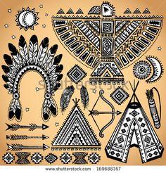 vintage tribal - Google Search Native Symbols, Indian Symbols, Native American Symbols, Dream Catcher Vector, Paisley Background, Waves Icon, Abstract Waves, Mandala Print