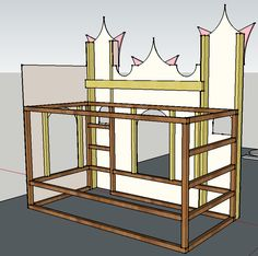 A bed that looks like a castle - IKEA Hackers Big Girl Bedrooms, Little Girl Rooms, Girls Bedroom, Lego Bedroom, Childs Bedroom, Princess Castle Bed, Princess Room, Princess Bedrooms, Princess Beds