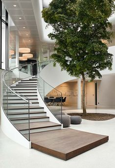 Image 21 of 31 from gallery of New Highly-energy Efficient Office for Vreugdenhil / Maas Architecten. Courtesy of Maas Architecten Staircase Railing Design, Home Stairs Design, Curved Staircase, Interior Stairs, Modern House Design, Home Interior Design, Railing Ideas, Staircase Design Modern, Stairs Architecture