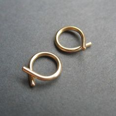 Itty Bitty Gold Fill Ribbon Hoops  Thread on catchless by Sacheen, $13.00